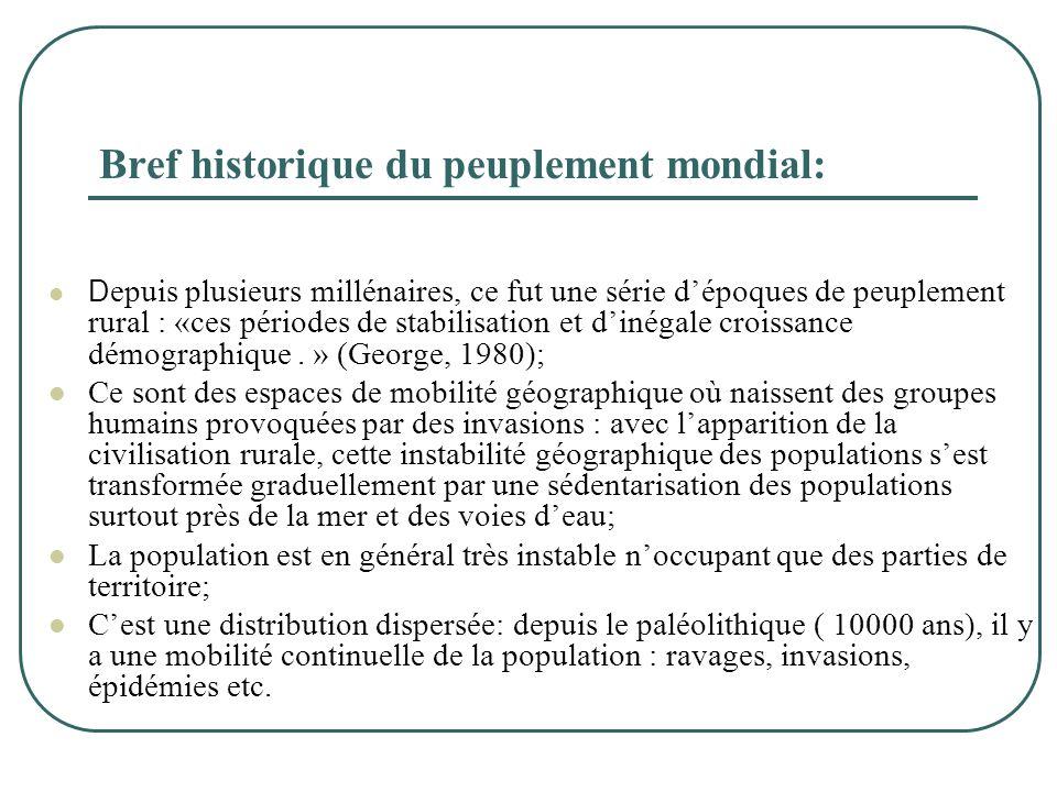 Bref historique du peuplement mondial:  D epuis plusieurs millénaires, ce fut une série d'époques de peuplement rural : «ces périodes de stabilisatio