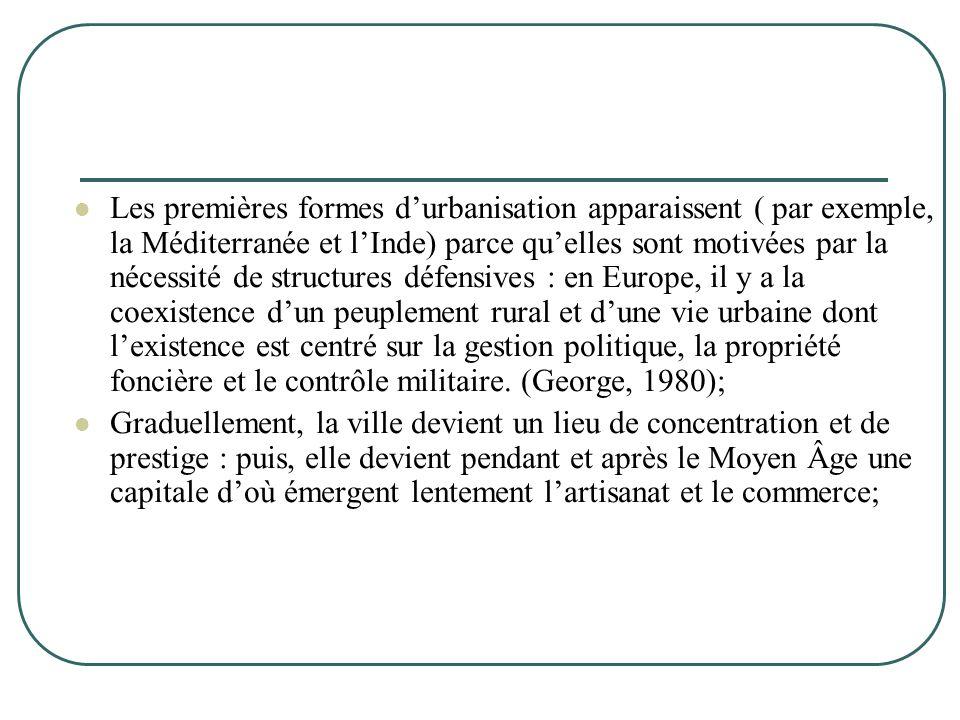  Les premières formes d'urbanisation apparaissent ( par exemple, la Méditerranée et l'Inde) parce qu'elles sont motivées par la nécessité de structur