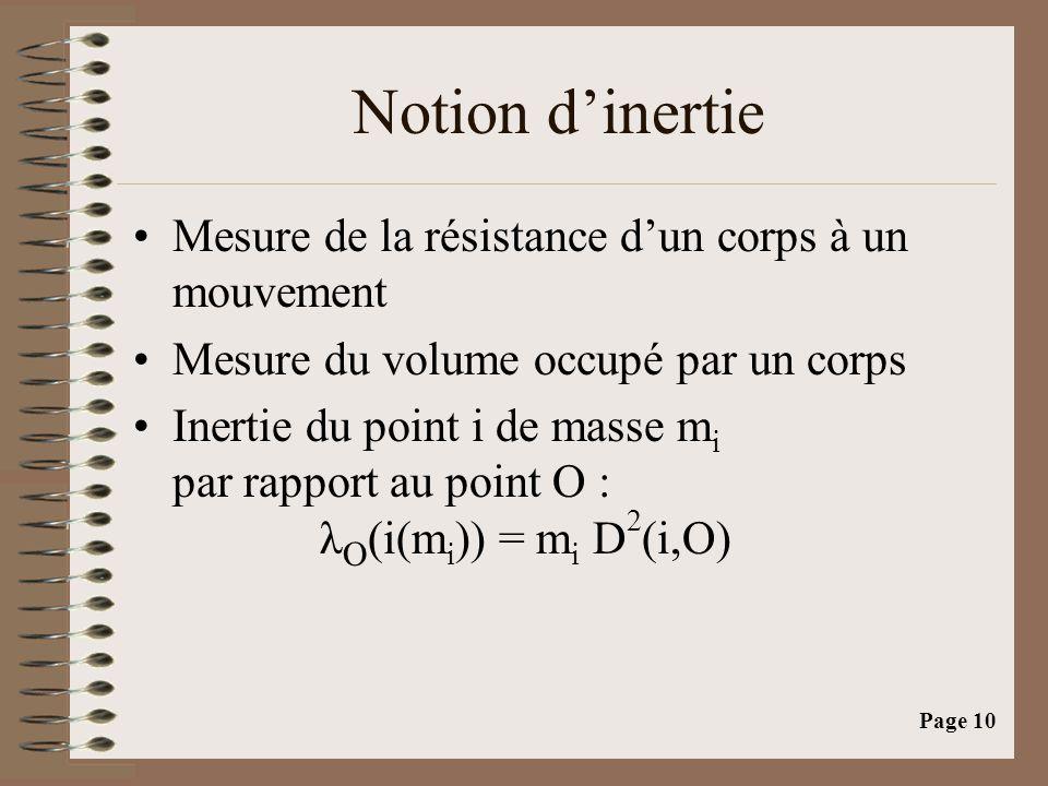 Page 10 Notion d'inertie •Mesure de la résistance d'un corps à un mouvement •Mesure du volume occupé par un corps •Inertie du point i de masse m i par rapport au point O : λ O (i(m i )) = m i D 2 (i,O)