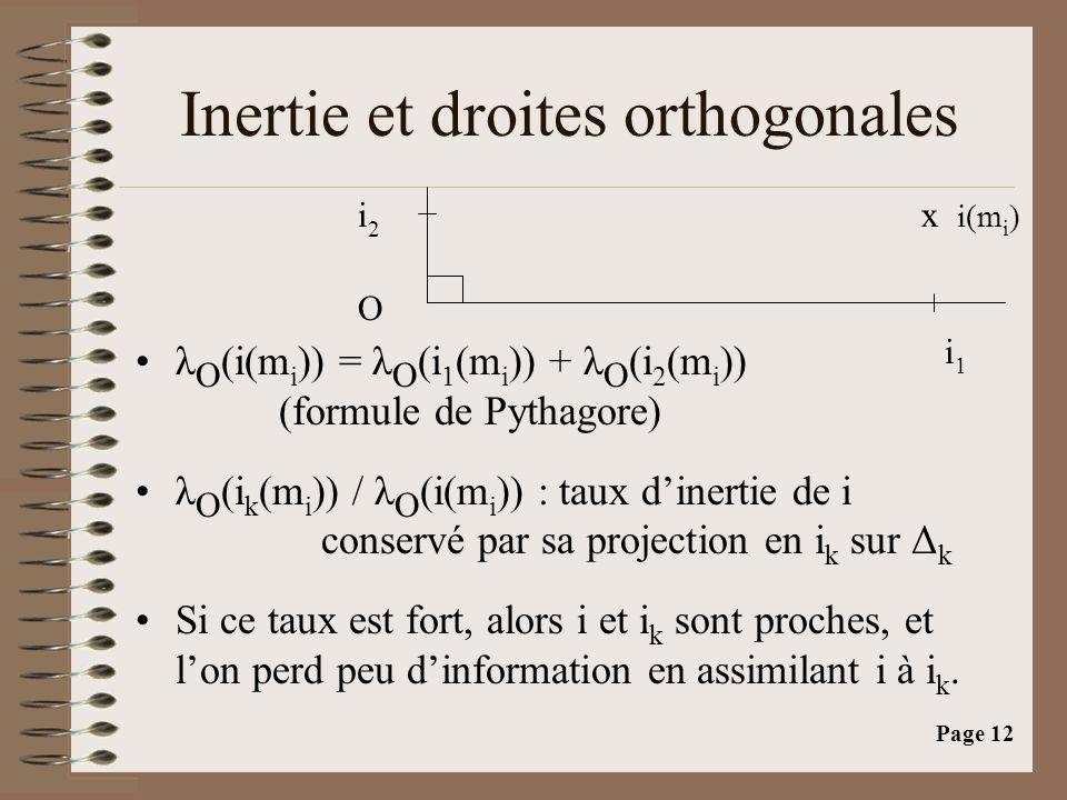 Page 12 Inertie et droites orthogonales •λ O (i(m i )) = λ O (i 1 (m i )) + λ O (i 2 (m i )) (formule de Pythagore) •λ O (i k (m i )) / λ O (i(m i )) : taux d'inertie de i conservé par sa projection en i k sur Δ k •Si ce taux est fort, alors i et i k sont proches, et l'on perd peu d'information en assimilant i à i k.