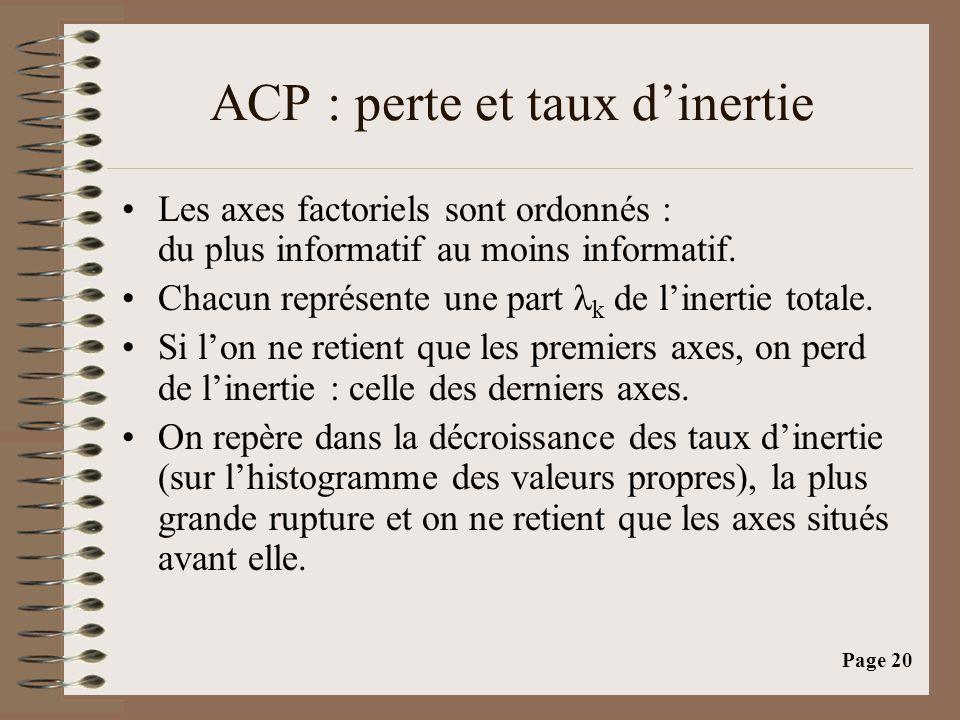 Page 20 ACP : perte et taux d'inertie •Les axes factoriels sont ordonnés : du plus informatif au moins informatif. •Chacun représente une part λ k de