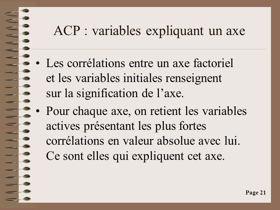 Page 21 ACP : variables expliquant un axe •Les corrélations entre un axe factoriel et les variables initiales renseignent sur la signification de l'axe.