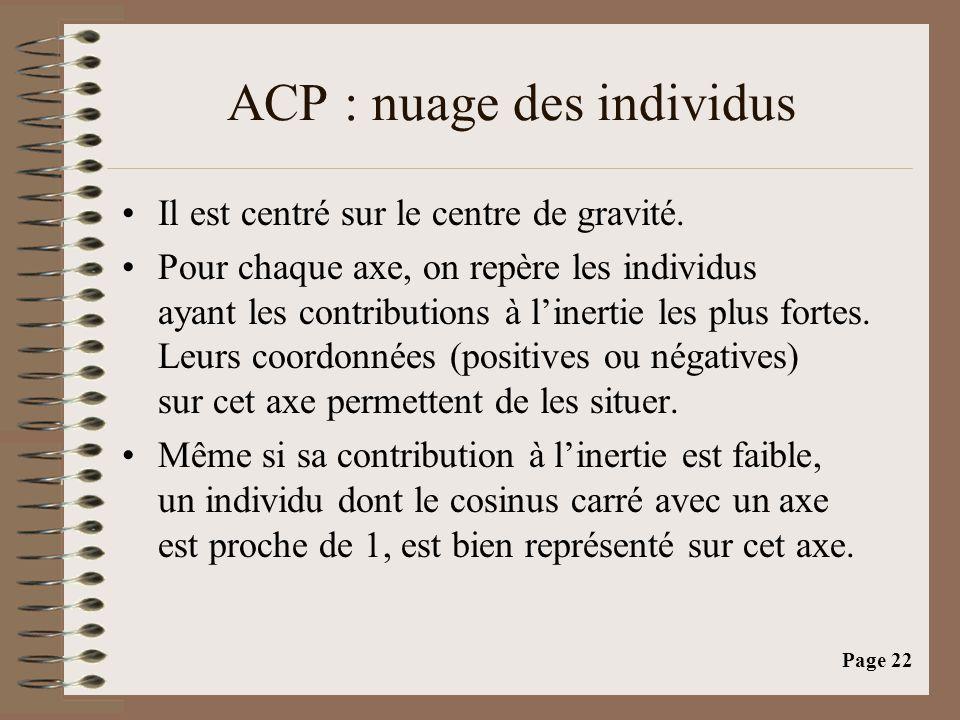 Page 22 ACP : nuage des individus •Il est centré sur le centre de gravité. •Pour chaque axe, on repère les individus ayant les contributions à l'inert