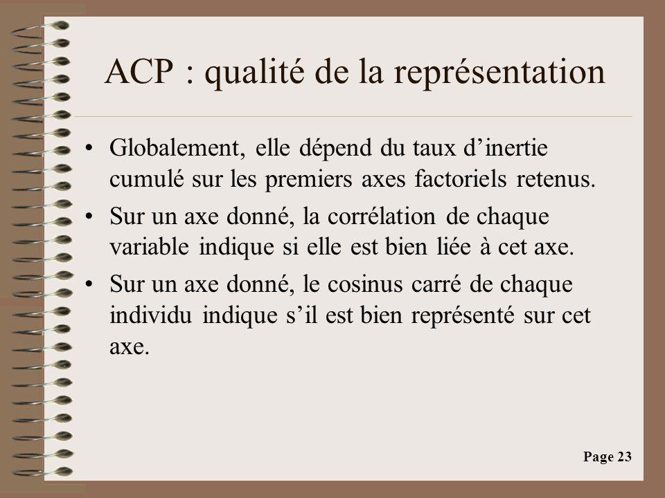 Page 23 ACP : qualité de la représentation •Globalement, elle dépend du taux d'inertie cumulé sur les premiers axes factoriels retenus.