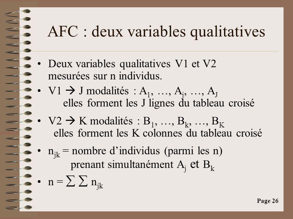 Page 26 AFC : deux variables qualitatives •Deux variables qualitatives V1 et V2 mesurées sur n individus. •V1  J modalités : A 1, …, A j, …, A J elle