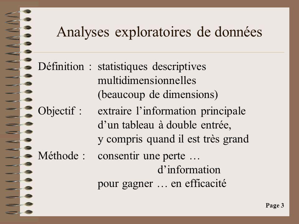 Page 3 Analyses exploratoires de données Définition :statistiques descriptives multidimensionnelles (beaucoup de dimensions) Objectif : extraire l'information principale d'un tableau à double entrée, y compris quand il est très grand Méthode : consentir une perte … d'information pour gagner … en efficacité
