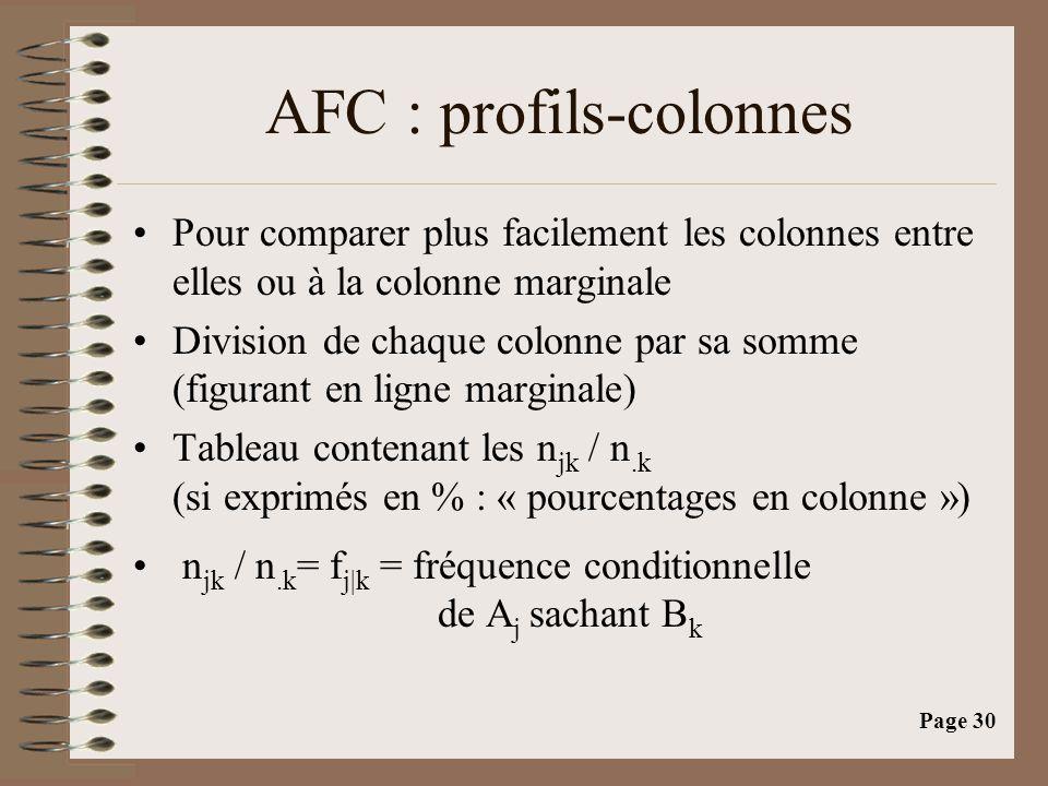 Page 30 AFC : profils-colonnes •Pour comparer plus facilement les colonnes entre elles ou à la colonne marginale •Division de chaque colonne par sa somme (figurant en ligne marginale) •Tableau contenant les n jk / n.k (si exprimés en % : « pourcentages en colonne ») • n jk / n.k = f j|k = fréquence conditionnelle de A j sachant B k