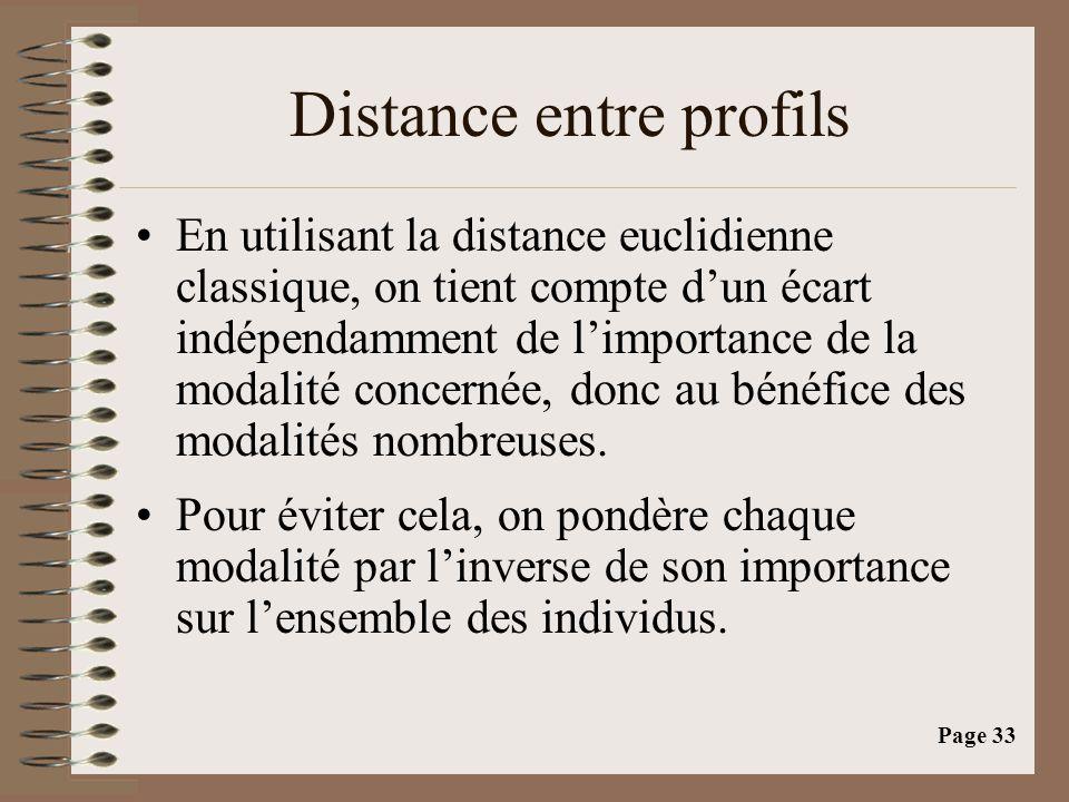Page 33 Distance entre profils •En utilisant la distance euclidienne classique, on tient compte d'un écart indépendamment de l'importance de la modalité concernée, donc au bénéfice des modalités nombreuses.