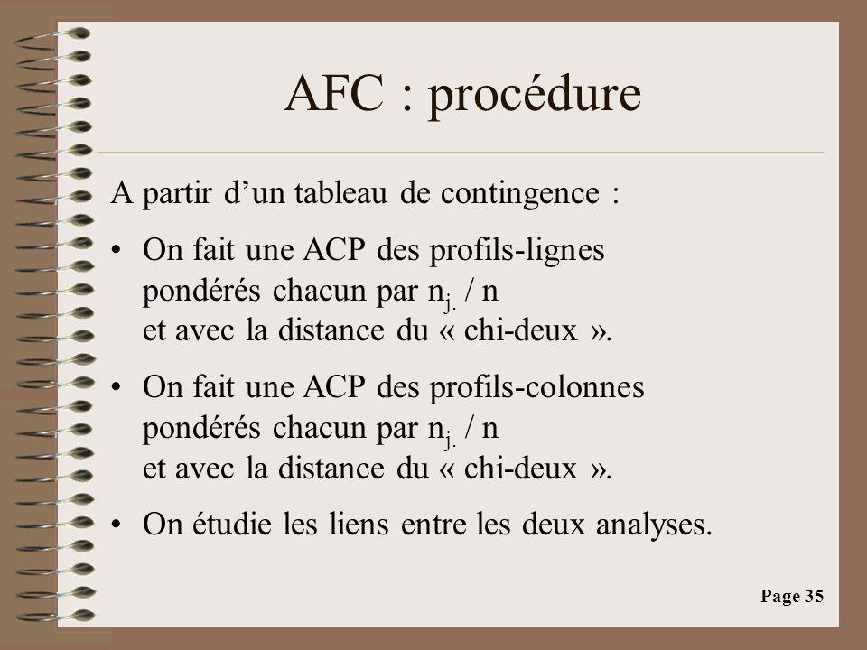 Page 35 AFC : procédure A partir d'un tableau de contingence : •On fait une ACP des profils-lignes pondérés chacun par n j. / n et avec la distance du