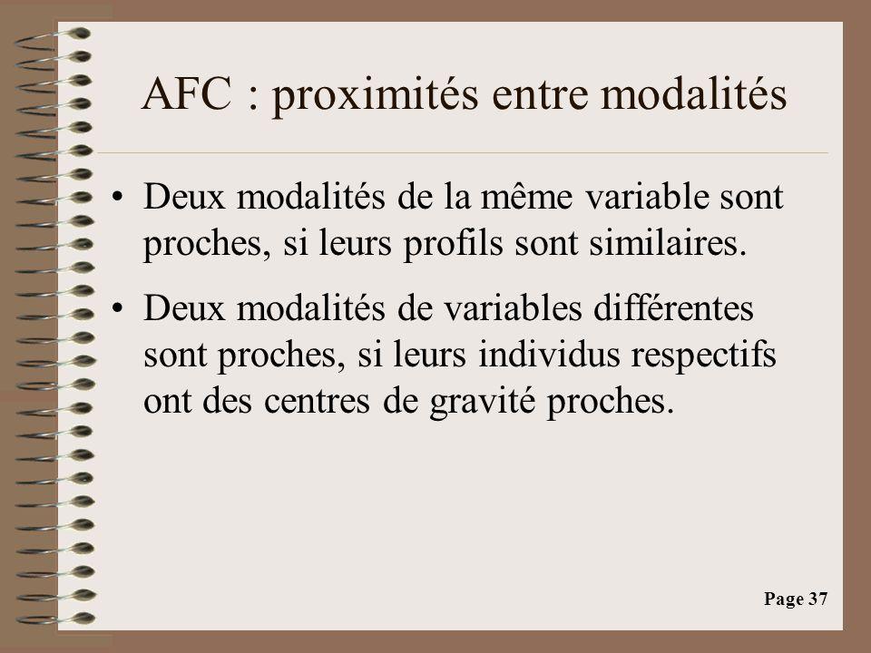 Page 37 AFC : proximités entre modalités •Deux modalités de la même variable sont proches, si leurs profils sont similaires. •Deux modalités de variab