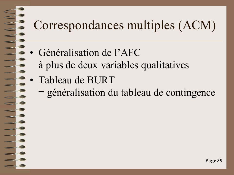 Page 39 Correspondances multiples (ACM) •Généralisation de l'AFC à plus de deux variables qualitatives •Tableau de BURT = généralisation du tableau de