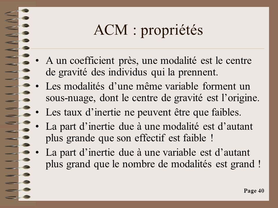 Page 40 ACM : propriétés •A un coefficient près, une modalité est le centre de gravité des individus qui la prennent. •Les modalités d'une même variab