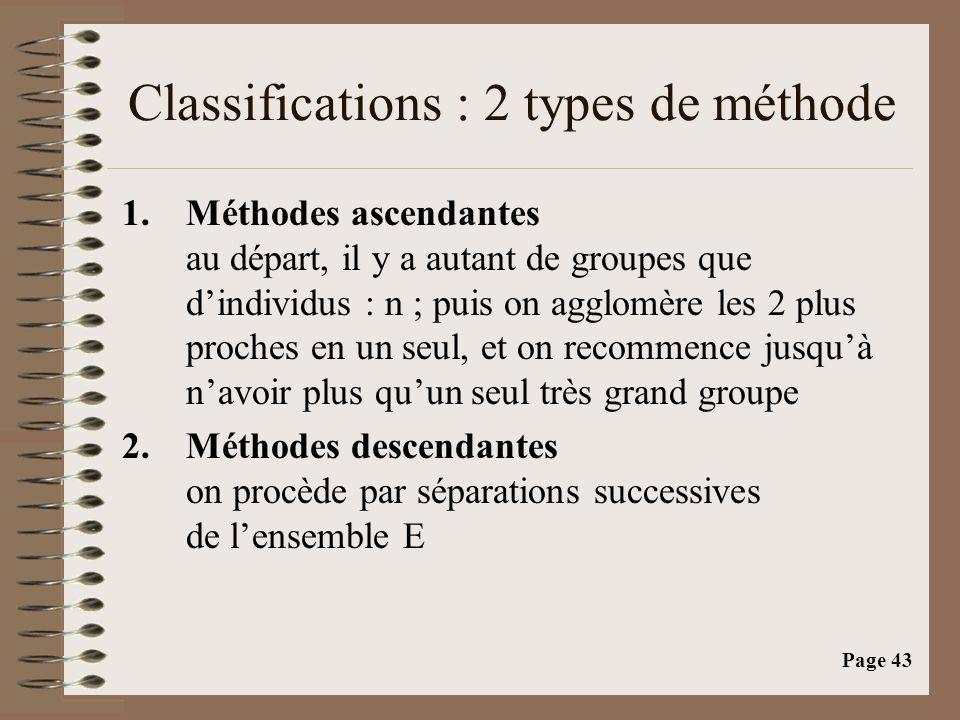 Page 43 Classifications : 2 types de méthode 1.Méthodes ascendantes au départ, il y a autant de groupes que d'individus : n ; puis on agglomère les 2