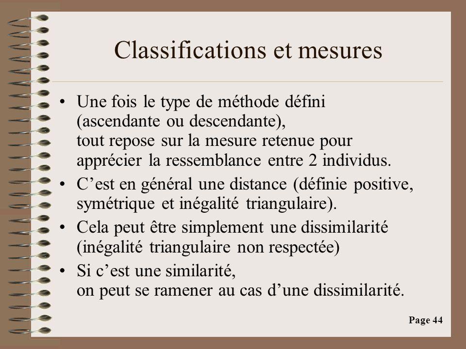Page 44 Classifications et mesures •Une fois le type de méthode défini (ascendante ou descendante), tout repose sur la mesure retenue pour apprécier l