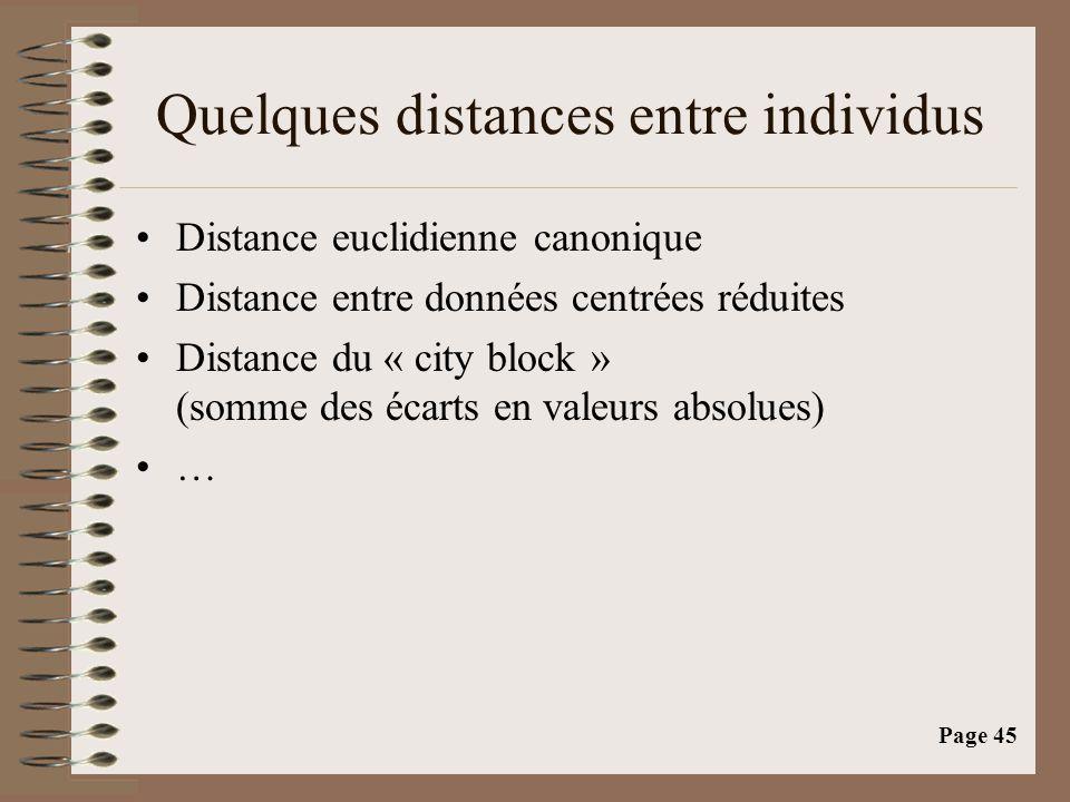 Page 45 Quelques distances entre individus •Distance euclidienne canonique •Distance entre données centrées réduites •Distance du « city block » (somm