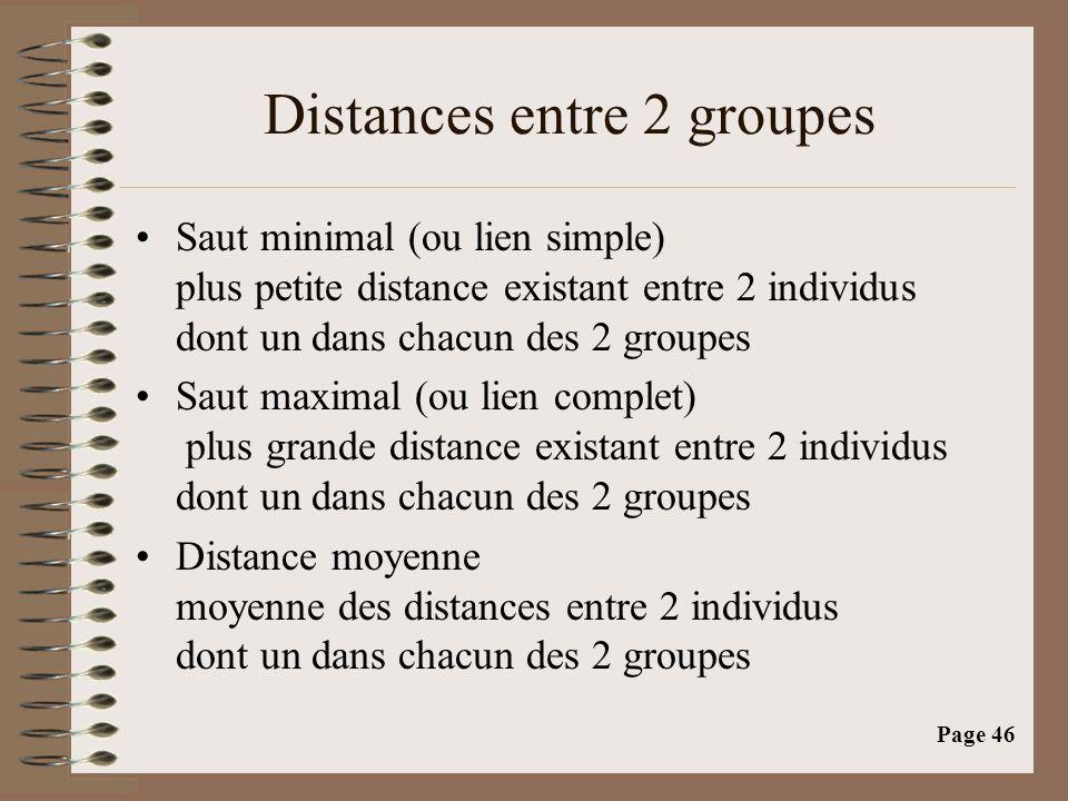 Page 46 Distances entre 2 groupes •Saut minimal (ou lien simple) plus petite distance existant entre 2 individus dont un dans chacun des 2 groupes •Saut maximal (ou lien complet) plus grande distance existant entre 2 individus dont un dans chacun des 2 groupes •Distance moyenne moyenne des distances entre 2 individus dont un dans chacun des 2 groupes