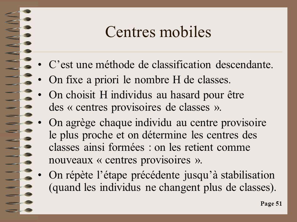 Page 51 Centres mobiles •C'est une méthode de classification descendante.