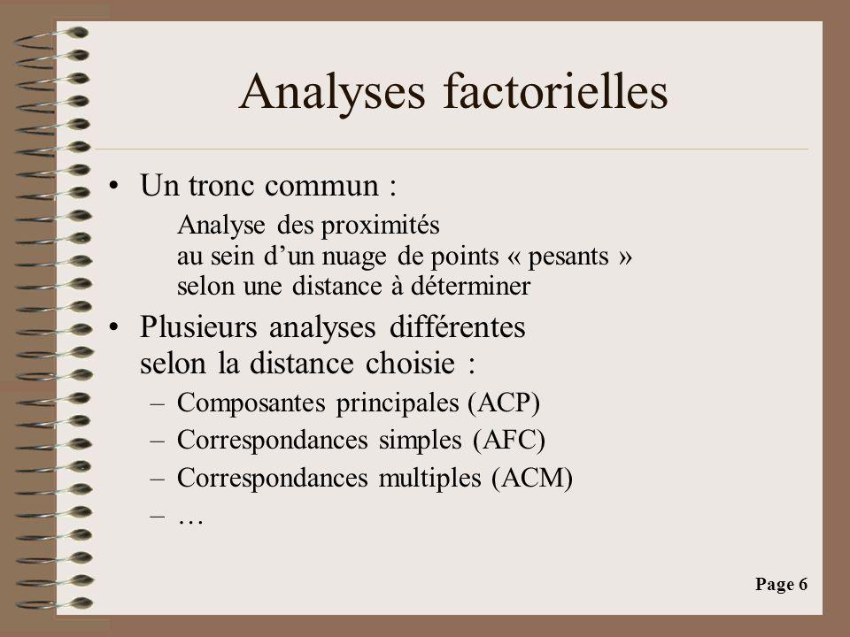 Page 6 Analyses factorielles •Un tronc commun : Analyse des proximités au sein d'un nuage de points « pesants » selon une distance à déterminer •Plusi