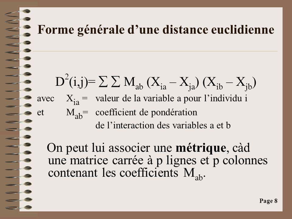 Page 8 Forme générale d'une distance euclidienne D 2 (i,j)=   M ab (X ia – X ja ) (X ib – X jb ) avec X ia = valeur de la variable a pour l'individu i et M ab = coefficient de pondération de l'interaction des variables a et b On peut lui associer une métrique, càd une matrice carrée à p lignes et p colonnes contenant les coefficients M ab.