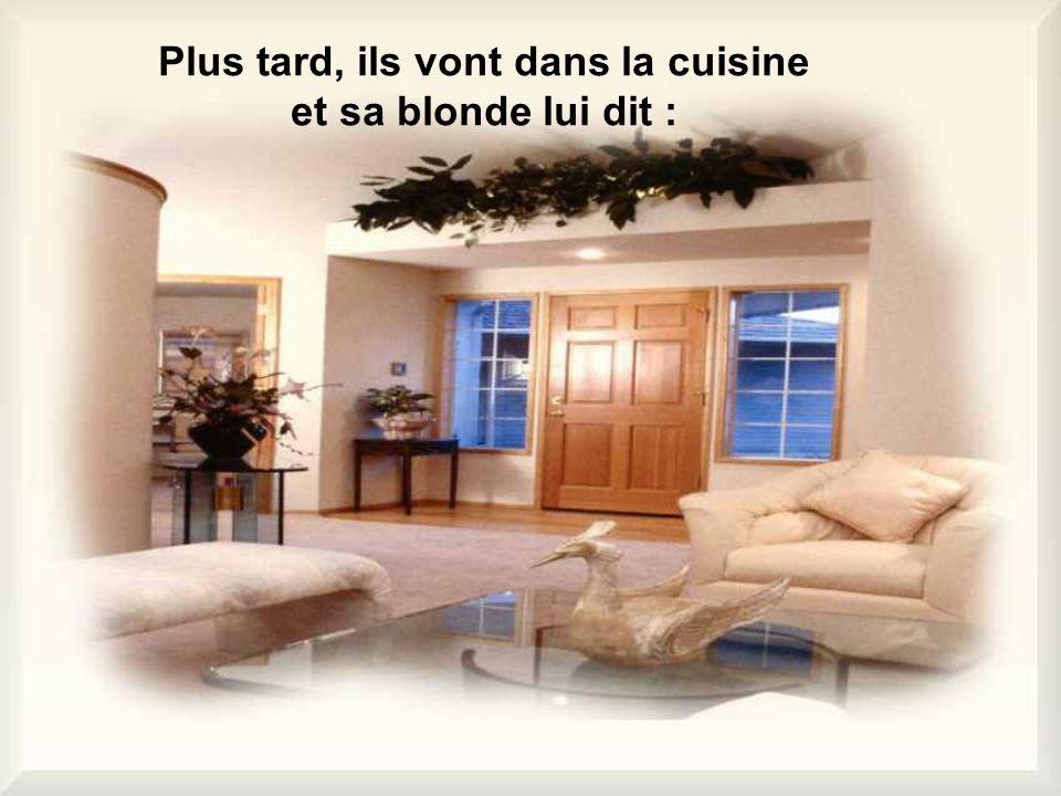 Plus tard, ils vont dans la cuisine et sa blonde lui dit :