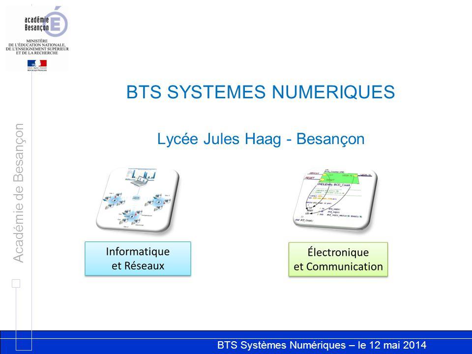 BTS Systèmes Numériques – le 12 mai 2014 Académie de Besançon BTS SYSTEMES NUMERIQUES Lycée Jules Haag - Besançon