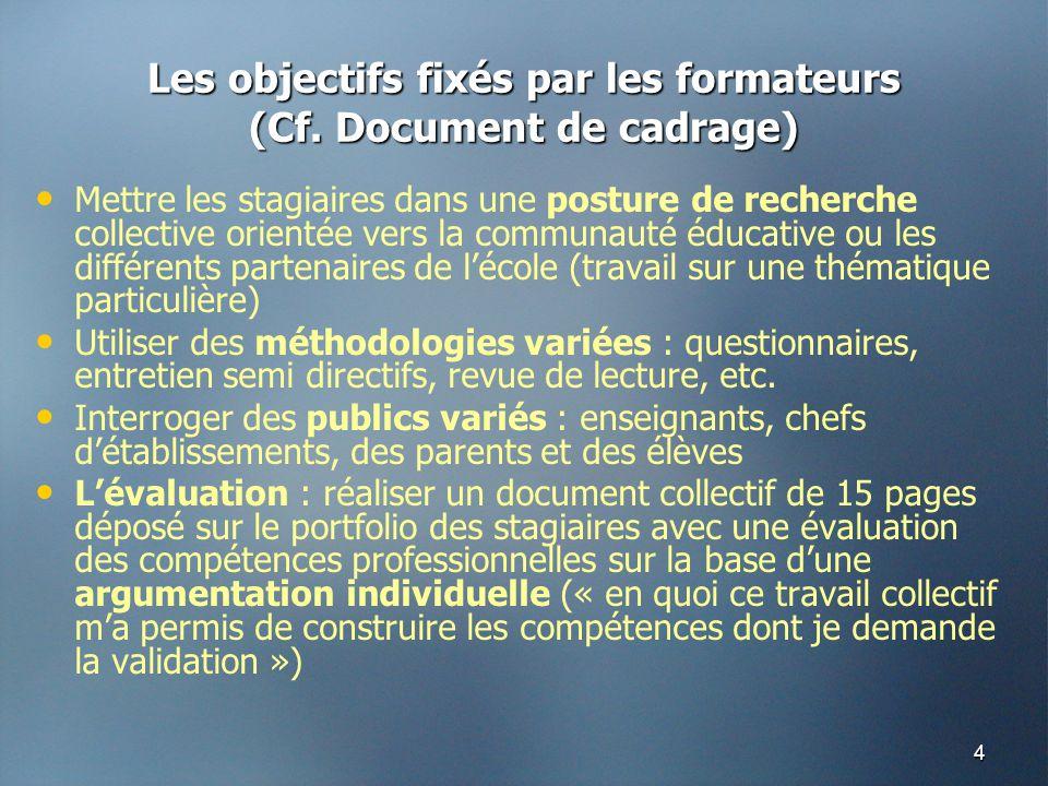 4 Les objectifs fixés par les formateurs (Cf. Document de cadrage) • • Mettre les stagiaires dans une posture de recherche collective orientée vers la