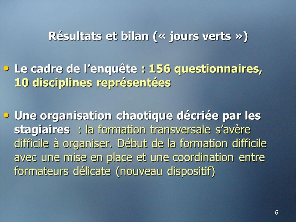 5 Résultats et bilan (« jours verts ») • Le cadre de l'enquête : 156 questionnaires, 10 disciplines représentées • Une organisation chaotique décriée