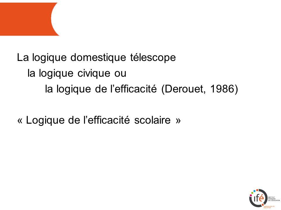 La logique domestique télescope la logique civique ou la logique de l'efficacité (Derouet, 1986) « Logique de l'efficacité scolaire »