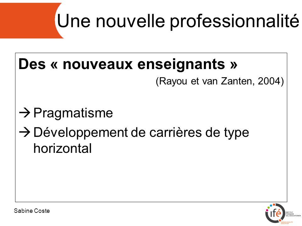 Sabine Coste Une nouvelle professionnalité Des « nouveaux enseignants » (Rayou et van Zanten, 2004)  Pragmatisme  Développement de carrières de type horizontal