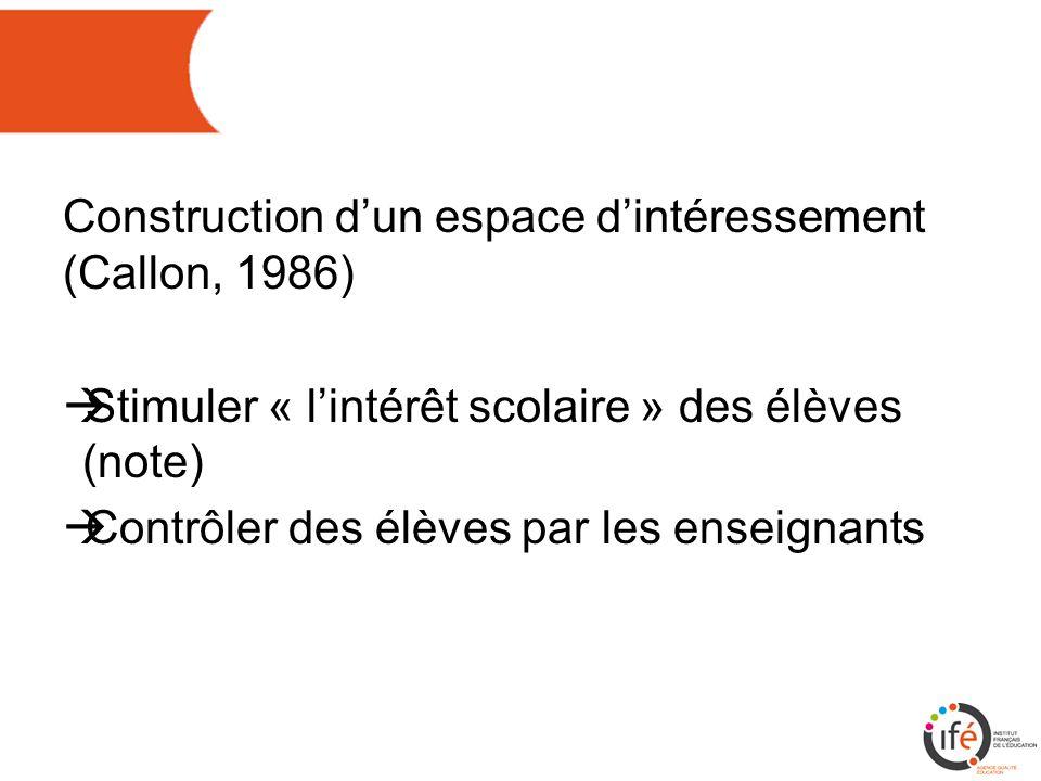 Construction d'un espace d'intéressement (Callon, 1986)  Stimuler « l'intérêt scolaire » des élèves (note)  Contrôler des élèves par les enseignants