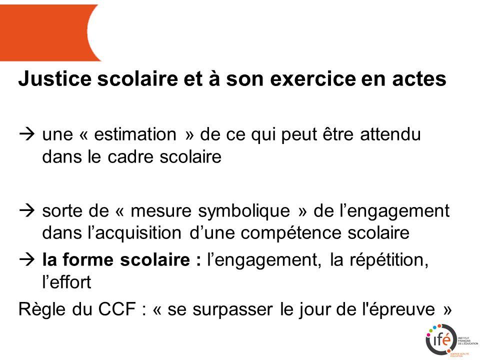 Justice scolaire et à son exercice en actes  une « estimation » de ce qui peut être attendu dans le cadre scolaire  sorte de « mesure symbolique » de l'engagement dans l'acquisition d'une compétence scolaire  la forme scolaire : l'engagement, la répétition, l'effort Règle du CCF : « se surpasser le jour de l épreuve »