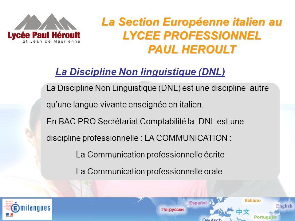 La Discipline Non linguistique (DNL) La Discipline Non Linguistique (DNL) est une discipline autre qu'une langue vivante enseignée en italien.