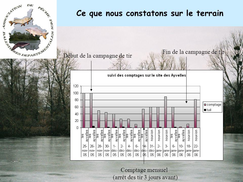Rapport du Conseil Supérieur de la Pêche sur les comptages Les conclusions du rapport du CSP sont les suivantes: Si les tirs de régulations, déplace l