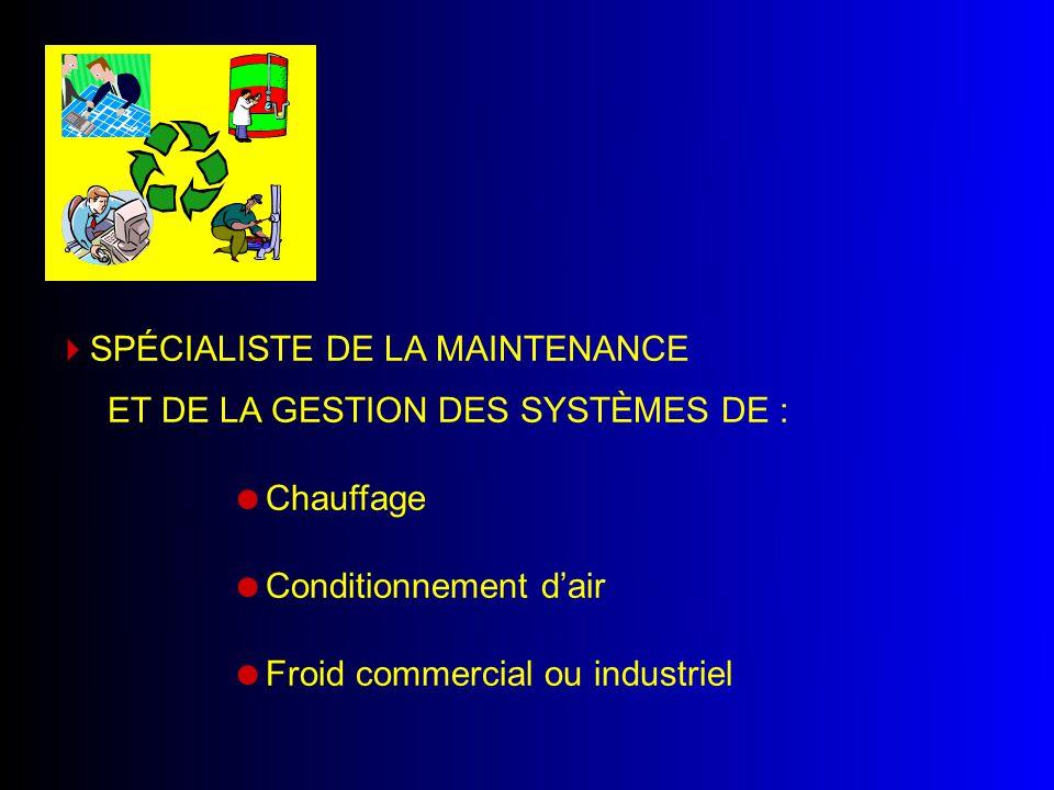  Froid commercial ou industriel  Chauffage  Conditionnement d'air  SPÉCIALISTE DE LA MAINTENANCE ET DE LA GESTION DES SYSTÈMES DE :