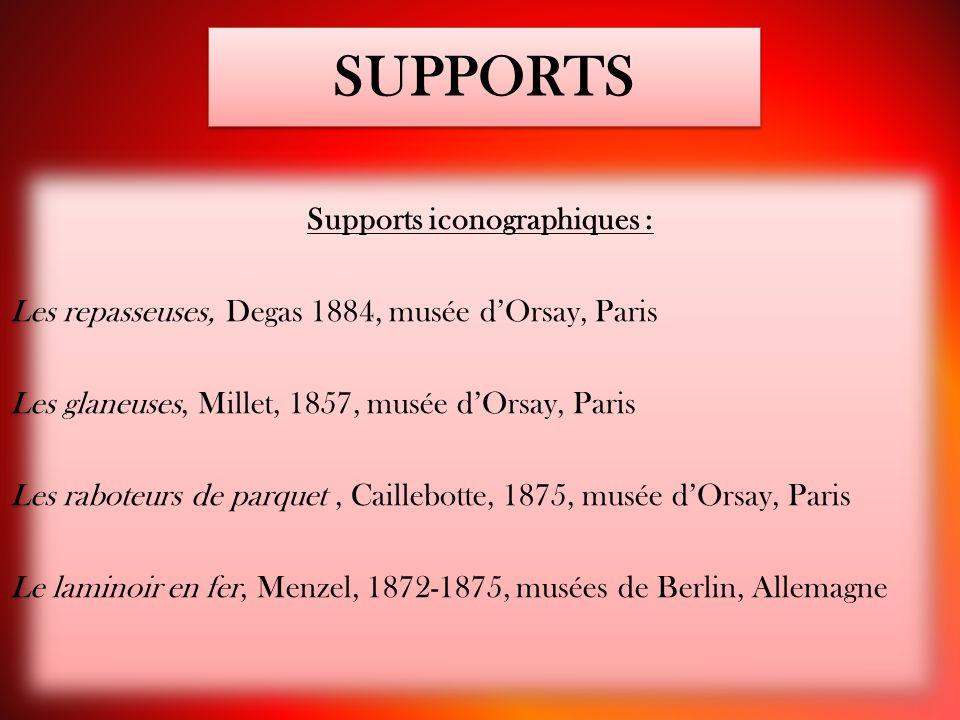 SUPPORTS Supports iconographiques : Les repasseuses, Degas 1884, musée d'Orsay, Paris Les glaneuses, Millet, 1857, musée d'Orsay, Paris Les raboteurs