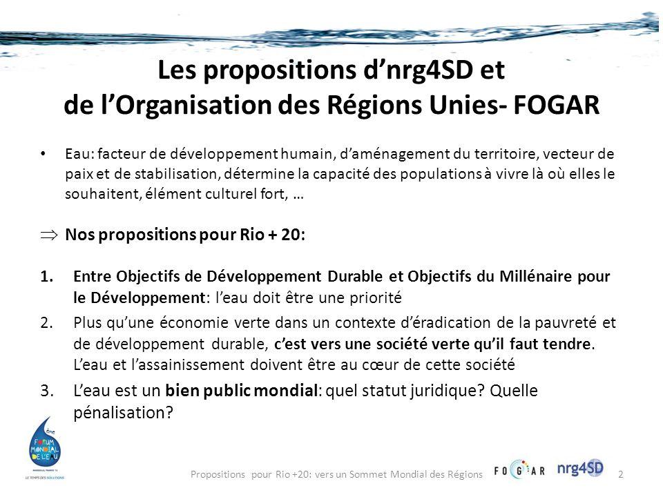 Les propositions d'nrg4SD et de l'Organisation des Régions Unies- FOGAR • Eau: facteur de développement humain, d'aménagement du territoire, vecteur de paix et de stabilisation, détermine la capacité des populations à vivre là où elles le souhaitent, élément culturel fort, …  Nos propositions pour Rio + 20: 1.Entre Objectifs de Développement Durable et Objectifs du Millénaire pour le Développement: l'eau doit être une priorité 2.Plus qu'une économie verte dans un contexte d'éradication de la pauvreté et de développement durable, c'est vers une société verte qu'il faut tendre.