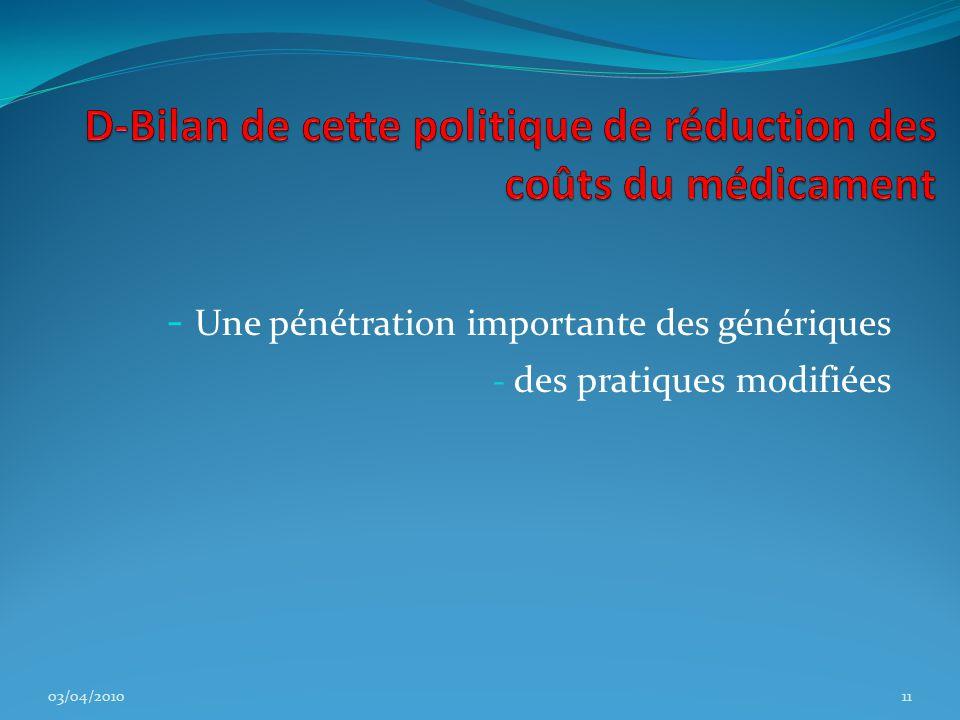 - Une pénétration importante des génériques - des pratiques modifiées 03/04/201011