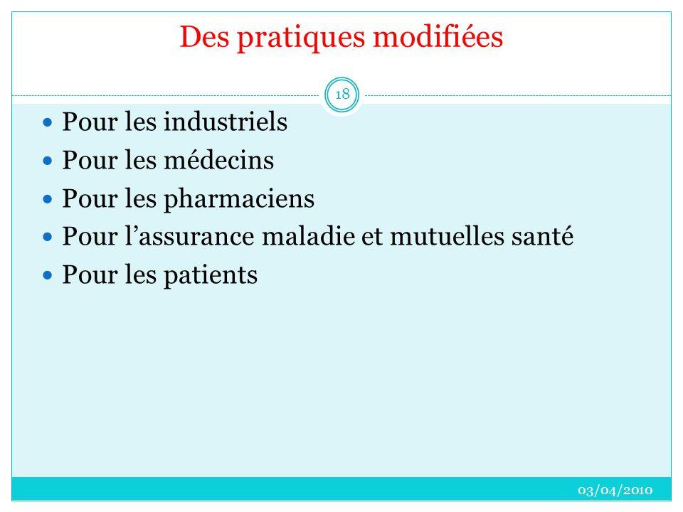 Des pratiques modifiées  Pour les industriels  Pour les médecins  Pour les pharmaciens  Pour l'assurance maladie et mutuelles santé  Pour les patients 03/04/2010 18