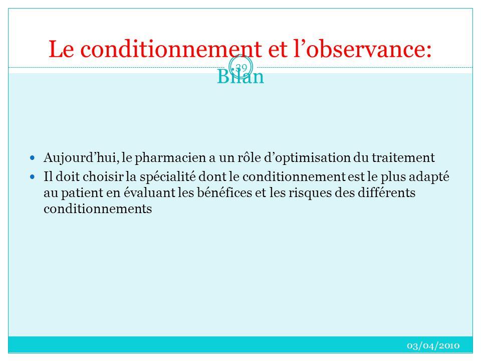 Le conditionnement et l'observance: Bilan  Aujourd'hui, le pharmacien a un rôle d'optimisation du traitement  Il doit choisir la spécialité dont le conditionnement est le plus adapté au patient en évaluant les bénéfices et les risques des différents conditionnements 03/04/2010 39
