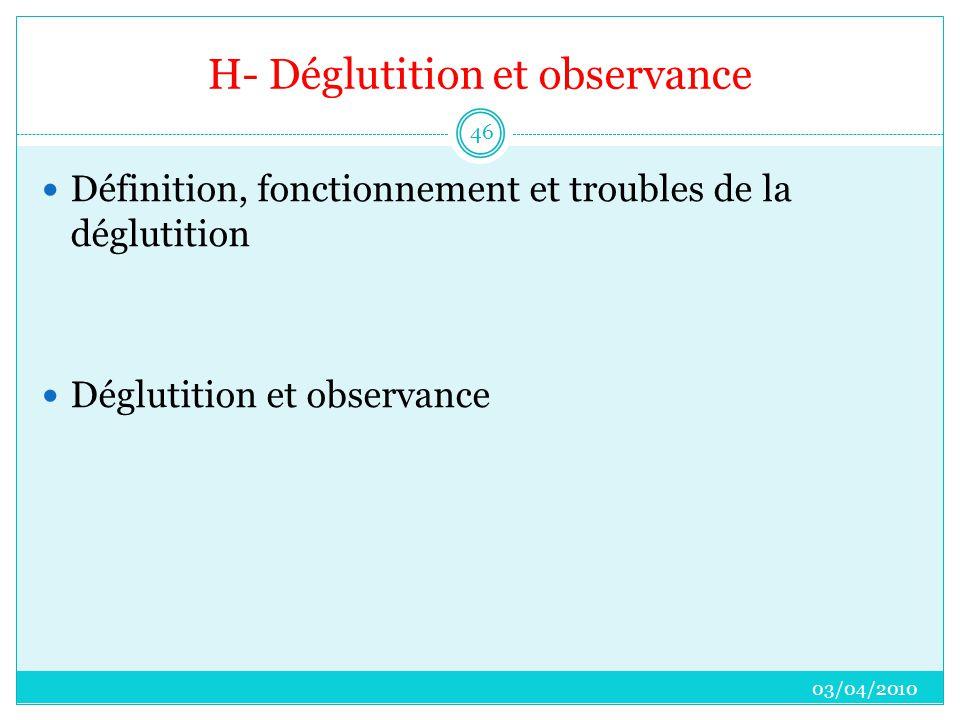 H- Déglutition et observance  Définition, fonctionnement et troubles de la déglutition  Déglutition et observance 03/04/2010 46