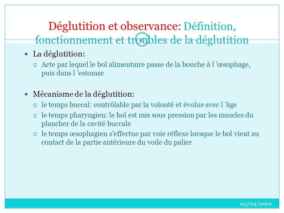 Déglutition et observance: Définition, fonctionnement et troubles de la déglutition  La déglutition:  Acte par lequel le bol alimentaire passe de la bouche à l 'œsophage, puis dans l 'estomac  Mécanisme de la déglutition:  le temps buccal: contrôlable par la volonté et évolue avec l 'âge  le temps pharyngien: le bol est mis sous pression par les muscles du plancher de la cavité buccale  le temps œsophagien s'effectue par voie réflexe lorsque le bol vient au contact de la partie antérieure du voile du palier 03/04/2010 47