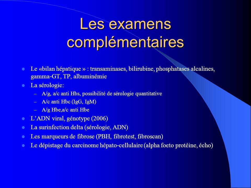 Les examens complémentaires  Le «bilan hépatique » : transaminases, bilirubine, phosphatases alcalines, gamma-GT, TP, albuminémie  La sérologie: – A/g, a/c anti Hbs, possibilité de sérologie quantitative – A/c anti Hbc (IgG, IgM) – A/g Hbe,a/c anti Hbe  L'ADN viral, génotype (2006)  La surinfection delta (sérologie, ADN)  Les marqueurs de fibrose (PBH, fibrotest, fibroscan)  Le dépistage du carcinome hépato-cellulaire (alpha foeto protéine, écho)