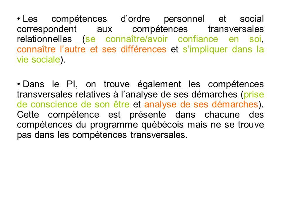 • Les compétences d'ordre personnel et social correspondent aux compétences transversales relationnelles (se connaître/avoir confiance en soi, connaît