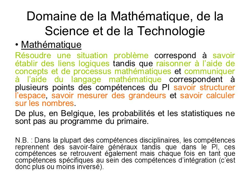 Domaine de la Mathématique, de la Science et de la Technologie • Mathématique Résoudre une situation problème correspond à savoir établir des liens lo