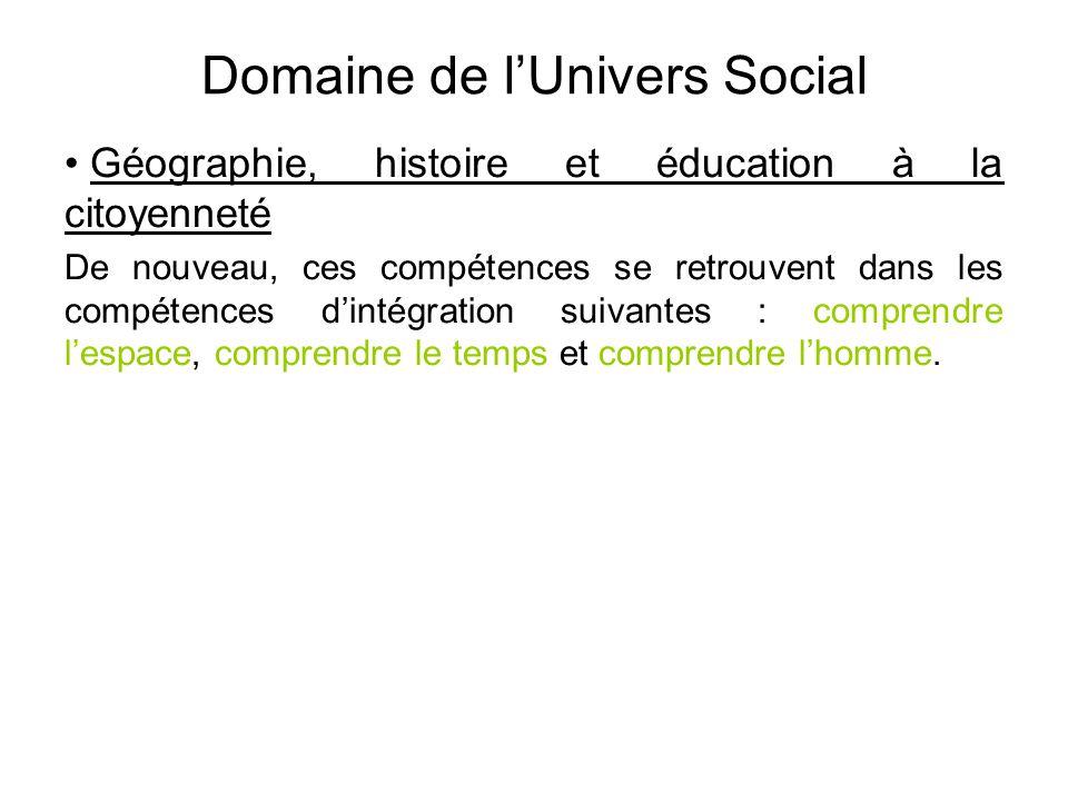 Domaine de l'Univers Social • Géographie, histoire et éducation à la citoyenneté De nouveau, ces compétences se retrouvent dans les compétences d'inté