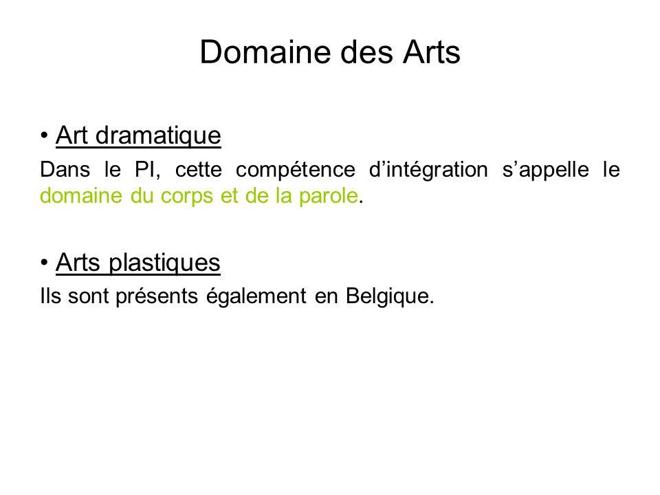 Domaine des Arts • Art dramatique Dans le PI, cette compétence d'intégration s'appelle le domaine du corps et de la parole. • Arts plastiques Ils sont
