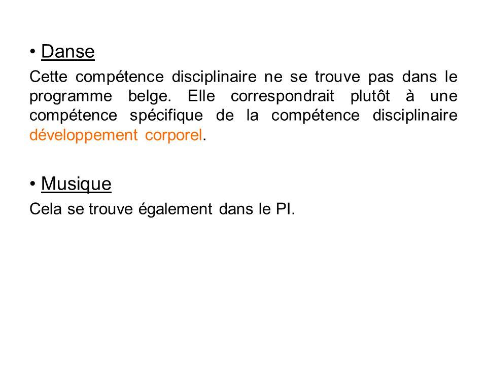 • Danse Cette compétence disciplinaire ne se trouve pas dans le programme belge. Elle correspondrait plutôt à une compétence spécifique de la compéten