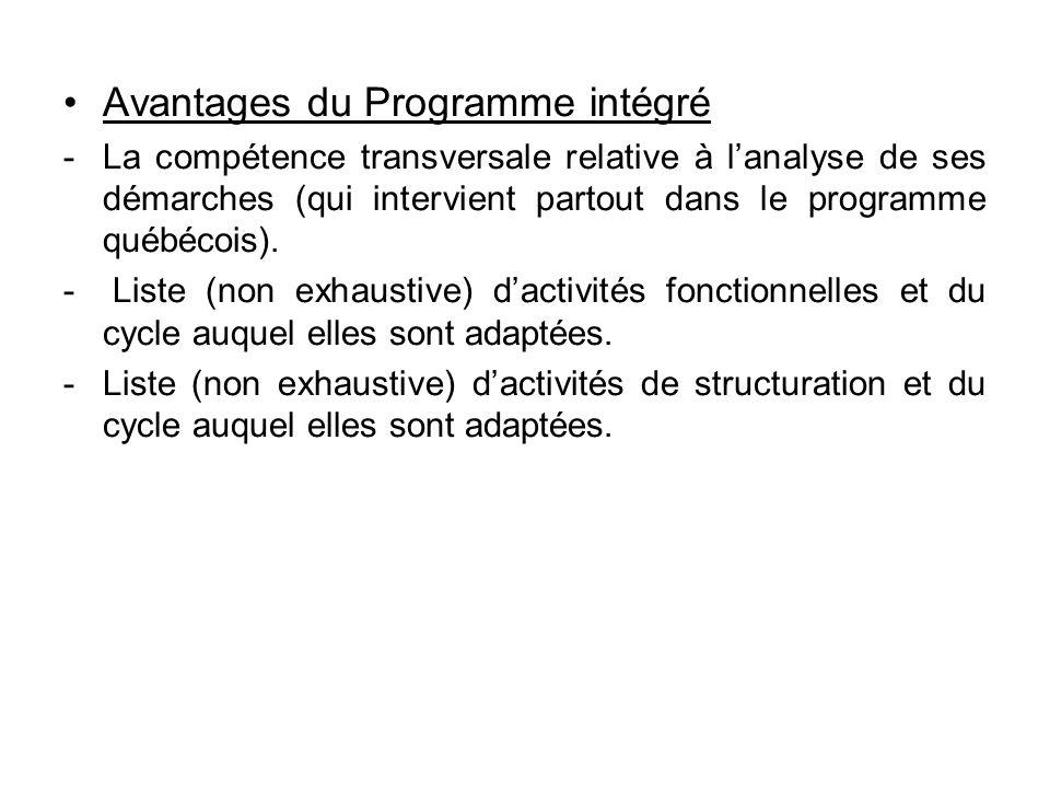 •Avantages du Programme intégré -La compétence transversale relative à l'analyse de ses démarches (qui intervient partout dans le programme québécois)