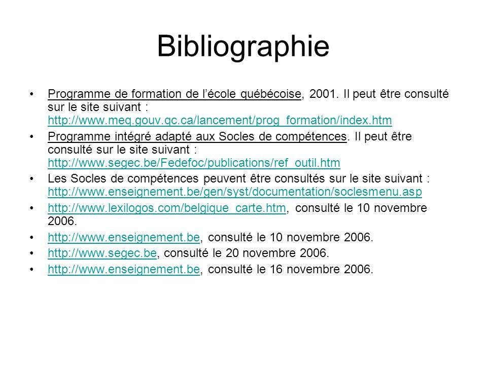 Bibliographie •Programme de formation de l'école québécoise, 2001. Il peut être consulté sur le site suivant : http://www.meq.gouv.qc.ca/lancement/pro