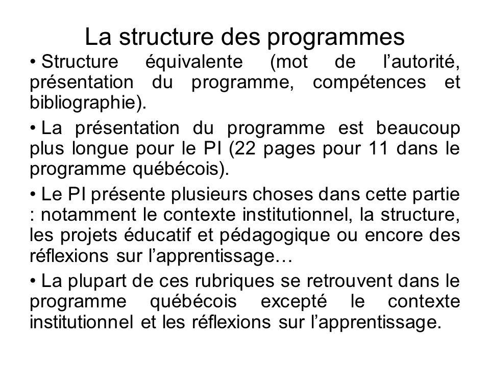La structure des programmes • Structure équivalente (mot de l'autorité, présentation du programme, compétences et bibliographie). • La présentation du